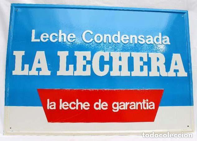 CARTEL DE CHAPA LECHE CONDENSADA LA LECHERA LIT. G. ANDREU BADALONA 50 X 35 CM * SOBRE ORIGINAL * (Coleccionismo - Carteles Gran Formato - Carteles Publicitarios)