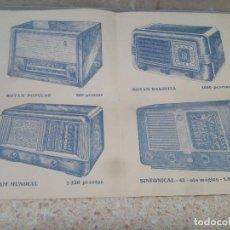 Carteles Publicitarios: CATALOGO CON LISTA DE PRECIOS Y MODELOS DE RADIOS DE VALVULAS AÑOS 40 * PERFECTO * GRAMOLA.. Lote 218739825