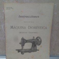 Carteles Publicitarios: CATALOGO DE INSTRUCCIONES PARA MAQUINA DE COSER SINGER BOBINA CENTRAL * PERFECTO * 1901.. Lote 218740262