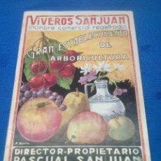 Carteles Publicitarios: CATALOGO PUBLICITARIO VIVEROS SAN JUAN, PASCUAL SAN JUAN SABIÑAN ( ZARAGOZA ) AÑOS 50.. Lote 218744123