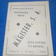 Carteles Publicitarios: MAGISTER S.A. PELICULAS SONORAS 16 M/M. SUPLEMENTO Nº 6 AL CATALOGO GENERAL. 1960-61 ( MADRID ). Lote 218745887