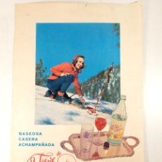 Affiches Publicitaires: CARTEL PUBLICITARIO GASEOSA LA FLOR DE VALENCIA - AÑOS 60 - 48X32CM. Lote 218773341