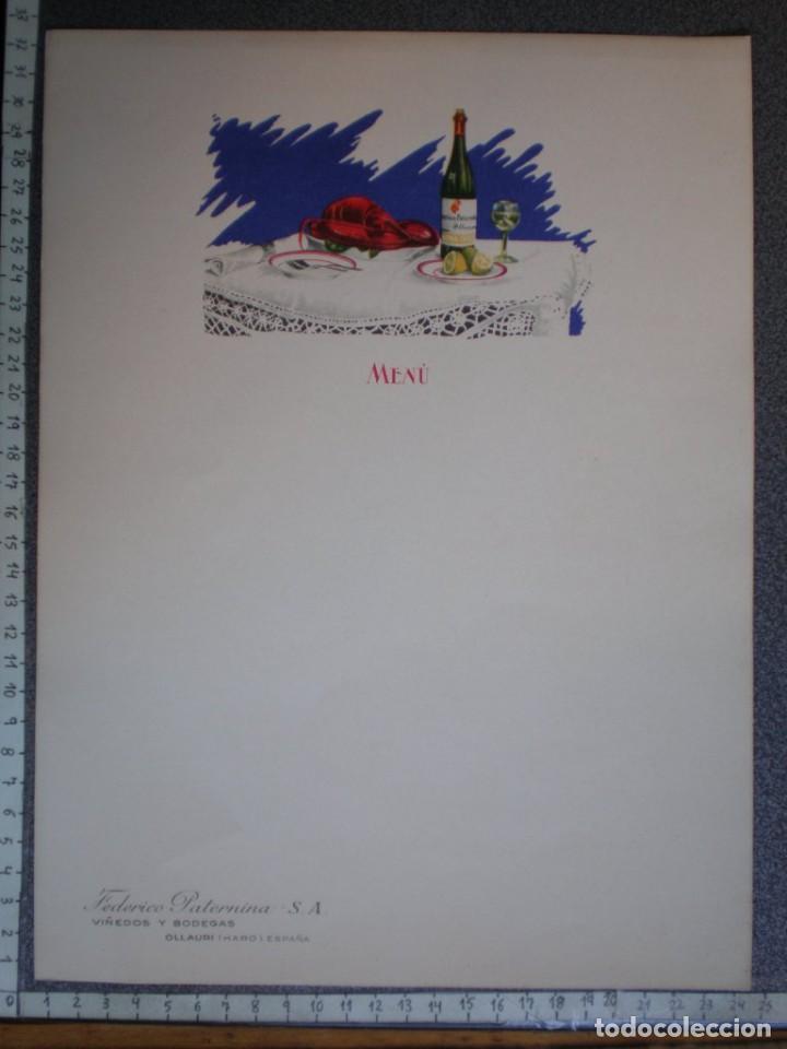 Carteles Publicitarios: OLLAURI (HARO) 3 HOJAS PUBLICITARIAS ANTIGUAS FEDERICO PATERNINA PARA MENÚS - GRAN TAMAÑO - Foto 2 - 218993765