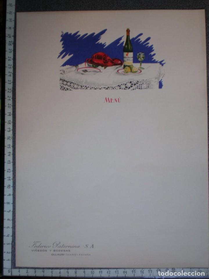 Carteles Publicitarios: OLLAURI (HARO) 3 HOJAS PUBLICITARIAS ANTIGUAS FEDERICO PATERNINA PARA MENÚS - GRAN TAMAÑO - Foto 3 - 218993765