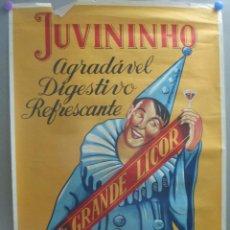 Affiches Publicitaires: CARTEL PUBLICIDAD JUVININHO GRANDE LICOR ARLEQUIN PORTUGAL ORIGINAL CPU7. Lote 219278036