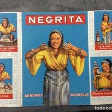 Affiches Publicitaires: PÁGINA DESPLEGABLE CON PUBLICIDAD - RHUM NEGRITA, AÑOS 30. EN FRANCÉS. MUY ESCASO. SALIDA A 0.01€. Lote 219563253