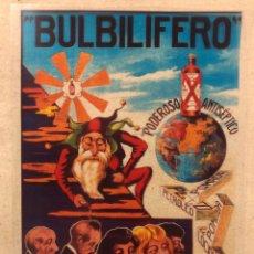 """Affissi Pubblicitari: BULBILÍFERO """"PODEROSO ANTISÉPTICO PARA EL PELO"""". ANTIGUO CARTEL PUBLICITARIO TRANSPARENCIA.. Lote 219621902"""
