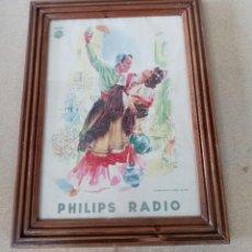 Affiches Publicitaires: ANTIGUO CARTEL PUBLICITARIO PHILIPS RADIO ENMARCADO 37X50CM. Lote 219968325
