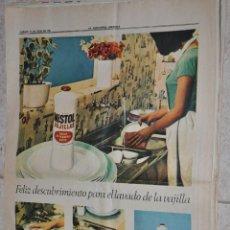 Carteles Publicitarios: HOJA PUBLICIDAD LA VANGUARDIA 1966, MISTOL VAJILLAS. Lote 220483220