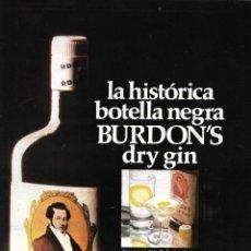 Cartazes Publicitários: HOJA PUBLICITARIA DE DRY GIN BURDON´S. Lote 223933781