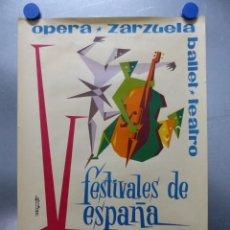 Carteles Publicitarios: SALAMANCA - V FESTIVALES DE ESPAÑA, OPERA, ZARZUELA, BALLET, TEATRO - AÑO 1965. Lote 225127332