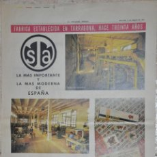 Carteles Publicitarios: HOJA PUBLICIDAD LA VANGUARDIA 1963, FABRICA STA TARRAGONA. Lote 228742970
