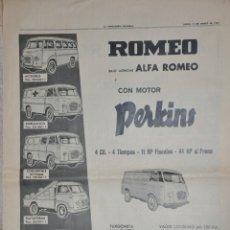 Affissi Pubblicitari: HOJA PUBLICIDAD LA VANGUARDIA 1964, ALFA ROMEO PERKINS MOTORSOL. Lote 228743680