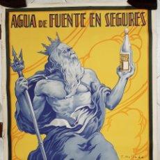 Cartazes Publicitários: CARTEL POSTER PUBLICIDAD AGUAS DE BENASAL CASTELLON AGUA FUENTE EN SEGURES AÑOS 1930 TDC1. Lote 234384150