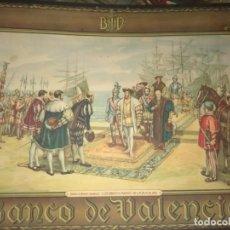 Carteles Publicitarios: CARTEL PUBLICITARIO BANCO DE VALENCIA - DESEMBARCO DE FRANCISCO I EN VALENCIA - J. PINAZO. Lote 235299130