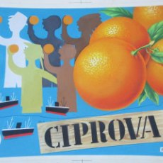 Carteles Publicitarios: ETIQUETA ORIGINAL PINTURA PINTADA A MANO NARANJAS CIPROVA E158. Lote 235928110