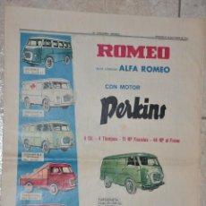 Affissi Pubblicitari: HOJA PUBLICIDAD PERIODICO LA VANGUARDIA 1963 ALFA ROMEO PERKINS MOTORSOL. Lote 236619890