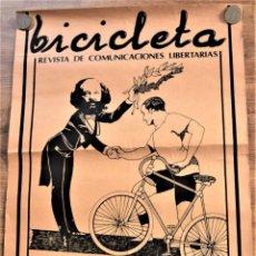 Carteles Publicitarios: CARTEL PUBLICIDAD BICICLETA REVISTA DE COMUNICACIONES LIBERTARIAS - 50 X 65 - VALENCIA AÑOS 70. Lote 237755140