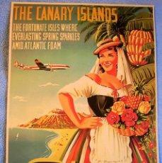 Affiches Publicitaires: CARTEL POSTER RETRO VINTAGE - ISLAS AFORTUNADAS CANARIAS - IBERIA LINEAS AEREAS DE ESPAÑA. Lote 277223533
