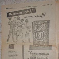Carteles Publicitarios: HOJA PUBLICIDAD LA VANGUARDIA 1959, GALLETAS KRIT CUETARA. Lote 238378410