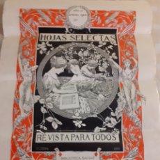 Carteles Publicitarios: CARTEL PUBLICITARIO HOJAS SELECTAS.ALEXANDRE DE RIQUER 1905.. Lote 243857230