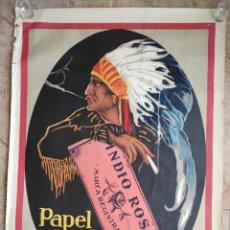 Affissi Pubblicitari: CARTEL PAPEL DE FUMAR INDIO ROSA.- PUBLICIDAD. ORIGINAL.70,5X100 CM. Lote 243869605