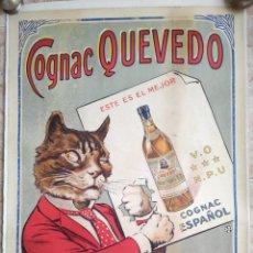 Carteles Publicitarios: CARTEL COGNAC QUEVEDO. PUBLICIDAD. ENTELADO.60,5X80 CM. Lote 243873340