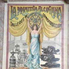 Affissi Pubblicitari: CARTEL LA PRIMITIVA ALCOYANA. TALLERES DE CONSTRUCCIÓN. ALCOY ALICANTE. PUBLICIDAD. ORIGINAL.66X84CM. Lote 243880365
