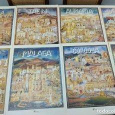 Carteles Publicitarios: LOTE 8 CARTELES PROVINCIAS DE ANDALUCIA GRAN FORMATO 46X34. Lote 270675178
