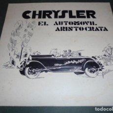 Carteles Publicitarios: MAGNIFICO ANTIGUO CARTEL MAQUETA DIBUJO ORIGINAL CHRYSLER EL AUTOMOVIL ARISTOCRATA DE LOS AÑOS 1920. Lote 247091805