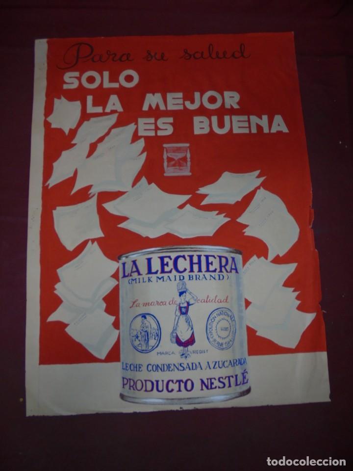 MAGNIFICO ANTIGUO CARTEL MAQUETA DIBUJO ORIGINAL LA LECHERA NESTLE DE LOS AÑOS 60 (Coleccionismo - Carteles Gran Formato - Carteles Publicitarios)