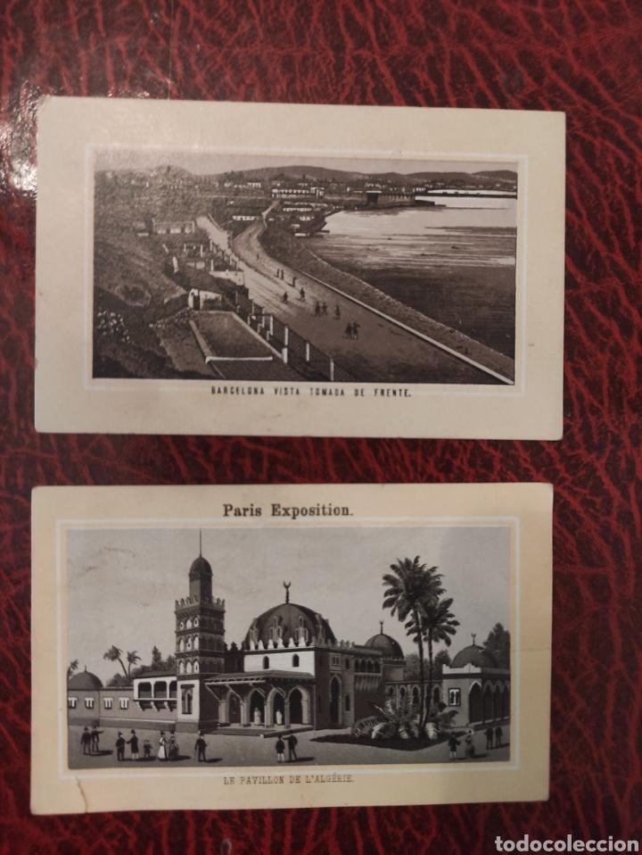 BARCELONA VISTA TOMADA DE FRENTE Y PARIS EXPOSITION LA ANTOLINA PALENCIA GRAN FABRICA DE CHOCOLATES (Coleccionismo - Carteles Gran Formato - Carteles Publicitarios)