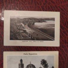 Carteles Publicitarios: BARCELONA VISTA TOMADA DE FRENTE Y PARIS EXPOSITION LA ANTOLINA PALENCIA GRAN FABRICA DE CHOCOLATES. Lote 248037855