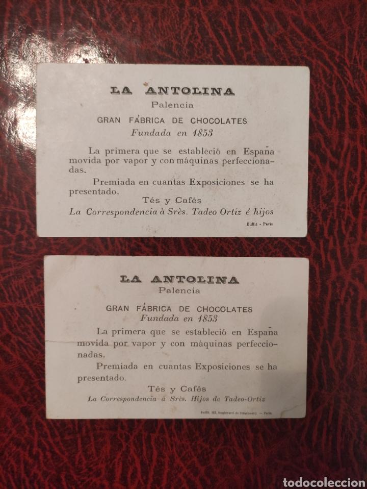 Carteles Publicitarios: BARCELONA VISTA TOMADA DE FRENTE Y PARIS EXPOSITION LA ANTOLINA PALENCIA GRAN FABRICA DE CHOCOLATES - Foto 2 - 248037855