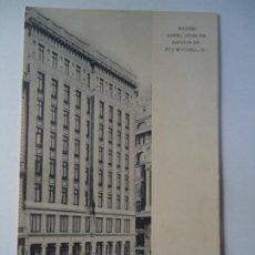 Carteles Publicitarios: POSTAL 1920 HOTEL GRAN VIA, EN LA AVENIDA DE PI Y MARGALL, 3 MADRID CRUZADA CON SELLO DE ALFONSO XII. Lote 260857120