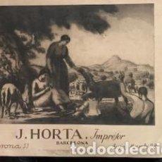 Carteles Publicitarios: EXCEPCIONAL CARTEL NOUCENTISTA CON AGUAFUERTE DE JOAN COLOM DE J. HORTA IMPRESOR. HACIA 1920. Lote 262568675