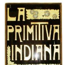 Carteles Publicitarios: CHOCOLATES LA PRIMITIVA INDIANA DE GIJÓN. CARTEL DE CRISTAL ORIGINAL DE LA FÁBRICA. 1,59 X 0,73.. Lote 262811905