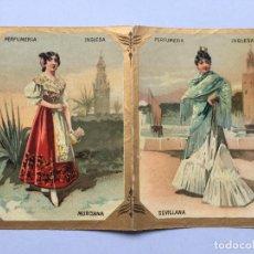 Carteles Publicitarios: PERFUMERIA INGLESA MADRID - MURCIANA SEVILLANA - ALMANAQUE S ROMERO VICENTE 1896 - 17X11 DESPLEGADO. Lote 264684579