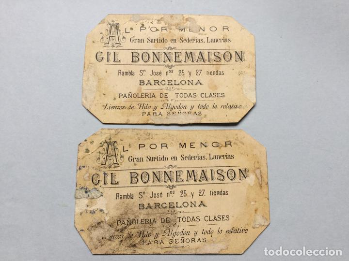 Carteles Publicitarios: GIL BONNEMAISON - AL POR MENOR GRAN SURTIDO EN SEDERIAS LANERIAS - BARCELONA - 11x7 - Foto 2 - 264767209