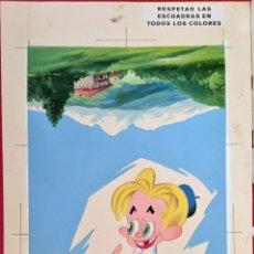 Cartazes Publicitários: CARTEL PUBLICIDAD ORIGINAL PINTURA PINTADO A MANO KITIN CHOCOLATE CON LECHE NOGUEROLES GANDIA. Lote 264811809