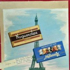 Cartazes Publicitários: CARTEL PUBLICIDAD ORIGINAL PINTURA PINTADO A MANO CHOCOLATES CON LECHE NOGUEROLES GANDIA. Lote 264813764