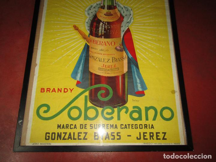 Carteles Publicitarios: Antiguo Cartel Publicitario de Brandy SOBERANO de Gonzáles Byass en Jerez - Foto 2 - 269398183