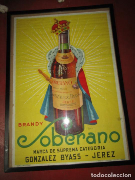 Carteles Publicitarios: Antiguo Cartel Publicitario de Brandy SOBERANO de Gonzáles Byass en Jerez - Foto 4 - 269398183