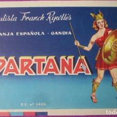 Carteles Publicitarios: CARTEL ITO ETIQUETA ORIGINAL SPARTANA BAUTISTA FRANCH GANDIA VALENCIA PRUEBA IMPRENTA. Lote 269680218