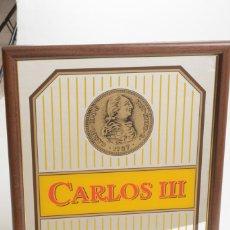 Carteles Publicitarios: ESPEJO DE PARED VINTAGE SERIGRAFIADO PROMOCIÓN CARLOS III. Lote 271869888