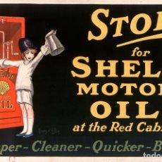 Affiches Publicitaires: STOP FOR SHELL MOTOR 1926 - PUBLICIDAD MODERNISTA - CARTEL REPRODUCCIÓN PÓSTER 60X90CM. Lote 273403493