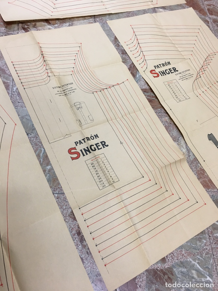 Carteles Publicitarios: Patrón Singer - Lote de 4 carteles infografías - Moda ropa antigua publicidad póster - Foto 5 - 278329258