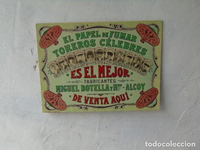 CARTEL PUBLICIDAD PAPEL DE FUMAR TOREROS CELEBRES MIGUEL BOTELLA ALCOY ALCOI (Coleccionismo - Carteles Gran Formato - Carteles Publicitarios)