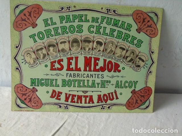 Carteles Publicitarios: CARTEL PUBLICIDAD PAPEL DE FUMAR TOREROS CELEBRES MIGUEL BOTELLA ALCOY ALCOI - Foto 3 - 289731838
