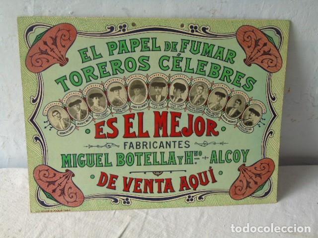 Carteles Publicitarios: CARTEL PUBLICIDAD PAPEL DE FUMAR TOREROS CELEBRES MIGUEL BOTELLA ALCOY ALCOI - Foto 4 - 289731838